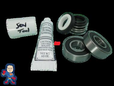 Jacuzzi Bracketless (8) Mount Piranha Pump Seal Parts Kit with Silicon & (2) Bearings