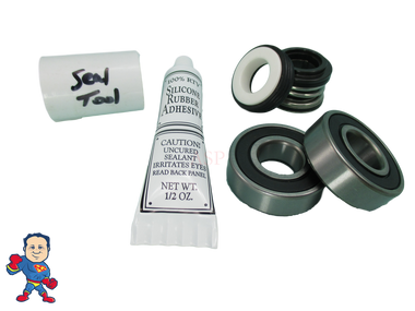 Jacuzzi (4) Mount Piranha Thera-Max Thera-Flo Pump Seal (2) Bearing Parts Kit with Silicon