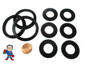 "(3) Complete Set of (9) Gaskets (3) 2"" Lip Gasket (6) 1"" Thread Split Nut Gasket only for Air Union Saluspa Lay-Z-Spa™ Airjet™ ""A"" & ""B/C"" Couplings"