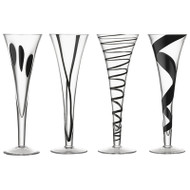 LSA Jazz Black Champagne Flutes (250ml) Set of 4 In Gift Box