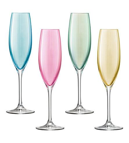 LSA Polka Champagne Flutes Pastel 225ml (Assorted Set of 4)
