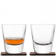 LSA Arran Whisky Tumbler 250ml and Walnut Coaster (Set of 2)