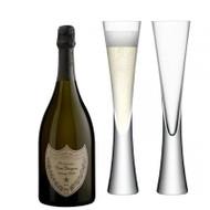 Dom Perignon 2009 (75cl) with x2 LSA Moya Champagne Flutes