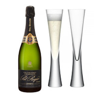 Pol Roger Brut Vintage 2009 In Gift Box (75cl) with x2 LSA Moya Champagne Flutes