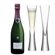 Bollinger La Grande Annee Rose 2005 In Prestige Gift Box (75cl) with x2 LSA Moya Champagne Flutes
