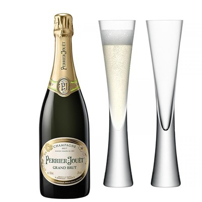 Perrier-Jouet Grand Brut NV In Gift Box (75cl) with x2 LSA Moya Champagne Flutes