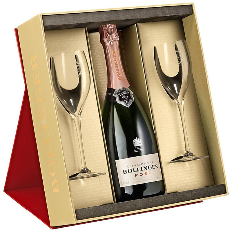 Bollinger Rose Gift Set In Red Gift Box With 2 Elizabeth Glasses 29cl Nv 75cl