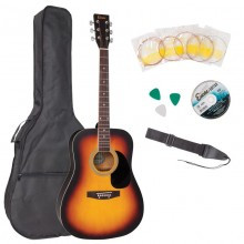 ENCORE ACOUSTIC STEEL STRUNG GUITAR - FULL SIZE OUTFIT (SUNBURST)