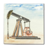 Mexican handpainted Oil Rig decorative clay tileDue to the nature of this product, they may be irregular in shape, size, dimension, texture, and color.Minor chipping and crazing are inherent in this product.
