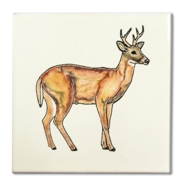 Mexican hand painted Full Body Buck decorative clay tile