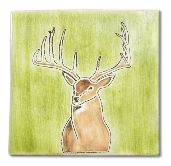 Mexican hand painted Mount Buck decorative clay tile