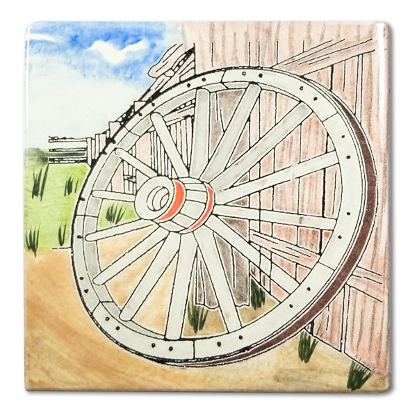 Mexican hand painted Wagon Wheel decorative clay tileDue to the nature of this product, they may be irregular in shape, size, dimension, texture, and color.Minor chipping and crazing are inherent in this product.