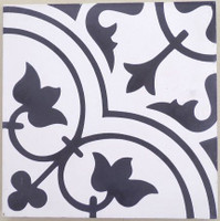 Tulips B B&W Cement Tile