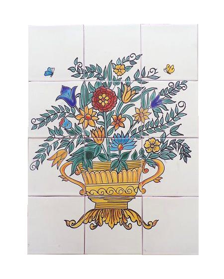 Arregio Floral 12 4x4 tile mural