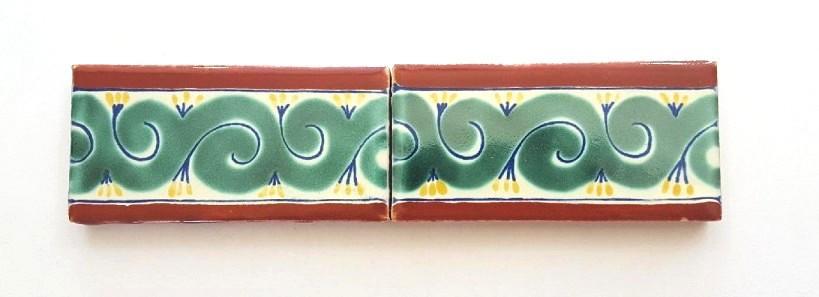 2x4 border tile in terracotta/green