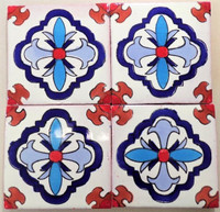 TOld (Talavera Old) in red, blue, & terracotta 4x4