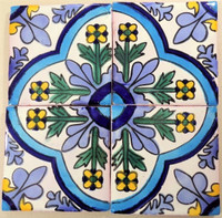TOld (Talavera old) Decorative blue, green, & yellow 4x4