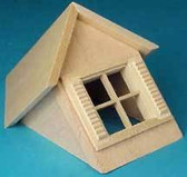 "Houseworks Dormer Window With 4 Light Shutter Windows 1/2"" Scale  H7002"