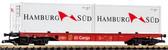 Piko DB VI Flat W/2 20' Container Hamburg Sud G Scale  37750