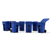 First Gear Set Of 6 Blue Trash Cans 1/34 Scale  90-0518