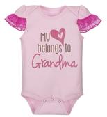 Ganz Baby Diaper Shirt My Heart Belongs To Grandma 0-6 Months ER40009