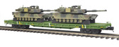 MTH  Electric Trains O Scale Premier U.S. Army #40102 Flat Car W( 2) M1A Abrams Tanks 20-95346