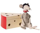 Maileg Rat In Cheese Box Light Grey 16-9970-01