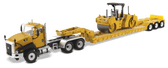 Diecast Masters CAT CT Cab Tractor & XL 120 Low-Profile HDG Trailer with CB 534D XW Vibrator Asphalt Compactor 1:50 Scale 85601C