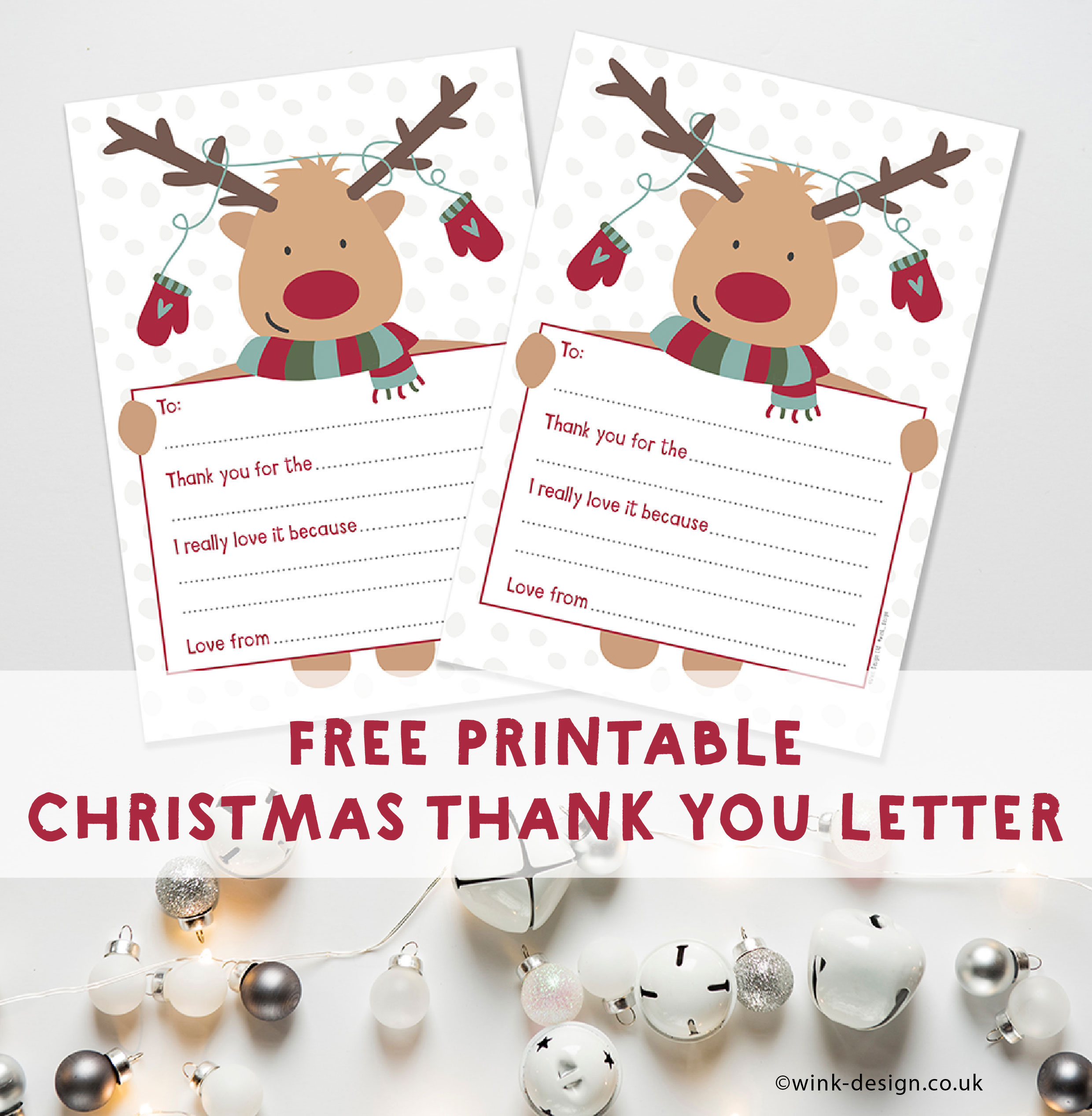 Free Printable Reindeer Thank You Letter by Wink Design