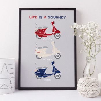 Personalised Retro Vespa Scooter Print - Red Cream and Blue