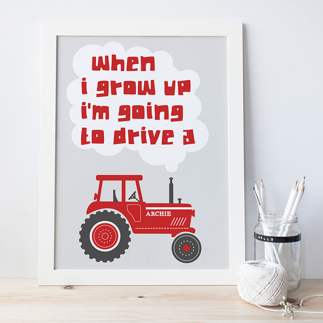 'When I Grow Up' Tractor Print - Red