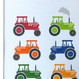 Personalised Bright Tractors Art Print - detail
