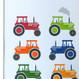 Personalised Bright Tractors Art Print - detail
