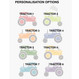 Personalised Bright Tractors Art Print - personalisation options