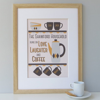Personalised Coffee Lover's Family Print - 5 cup design - yellow/grey - framed
