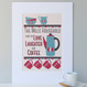 Personalised Coffee Lovers Family Print - 4 cup design - cranberry/blue - mounted
