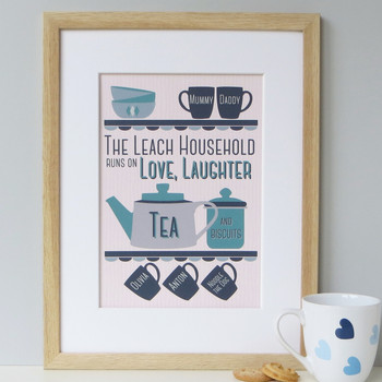 Personalised Tea And Biscuit Family Print - five cup example - blue/teal - framed