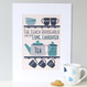 Personalised Tea And Biscuit Family Print - five cup example - blue/teal - mounted
