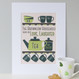Personalised Tea And Biscuit Family Print - six cup example - green - mounted
