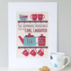 Personalised Tea And Biscuit Family Print - five cup example - cranberry/blue - mounted