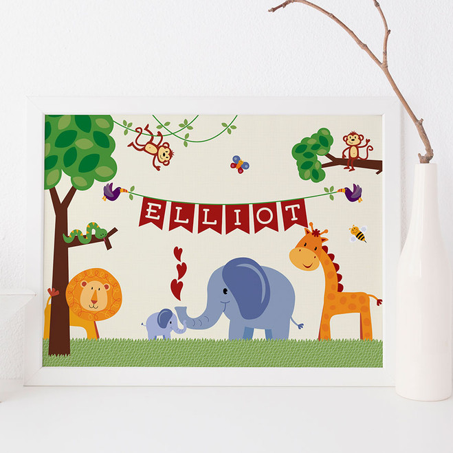 Personalised Children's Jungle Animal Print