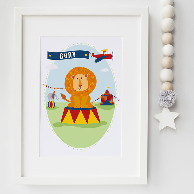 Personalised Children's Circus lion Name Print