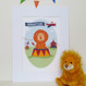 Personalised Children's Circus lion Name Print - mounted