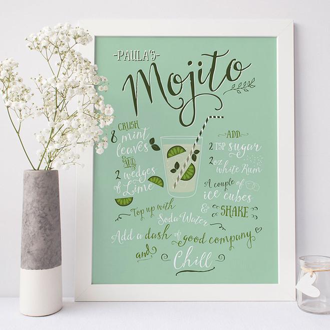 Personalised Mojito Recipe Print