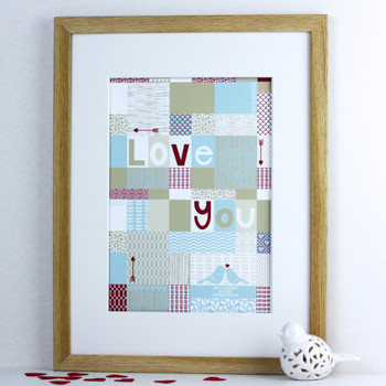 Personalised Patchwork Love Print - framed