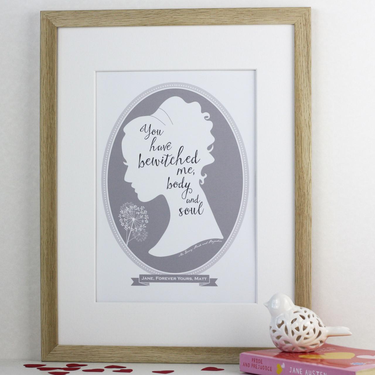 Jane Austen Pride And Prejudice Love Quote Print