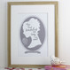 Jane Austen Pride and Prejudice Love Print - Oak Frame - GREY