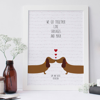 Personalised Sausage Dog Love Print