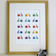 Bright Scooters Retro Vespa Print - multicoloured - framed