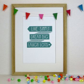 Live Simply Inspirational Print (Sea Foam colour) - Framed